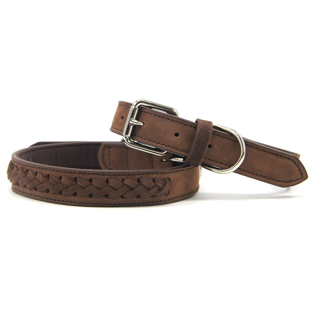 High Quality Heavy Duty and Soft Leather Unique Weave Effect Dog Collar For Medium to Large Dogs