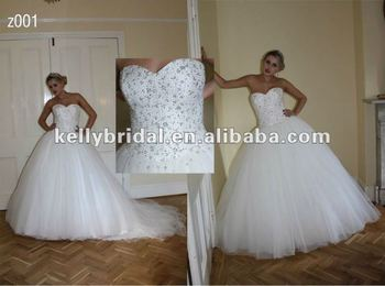 Beading Crystal Bodice Ball Gown Tulle Bridal Wedding Dress
