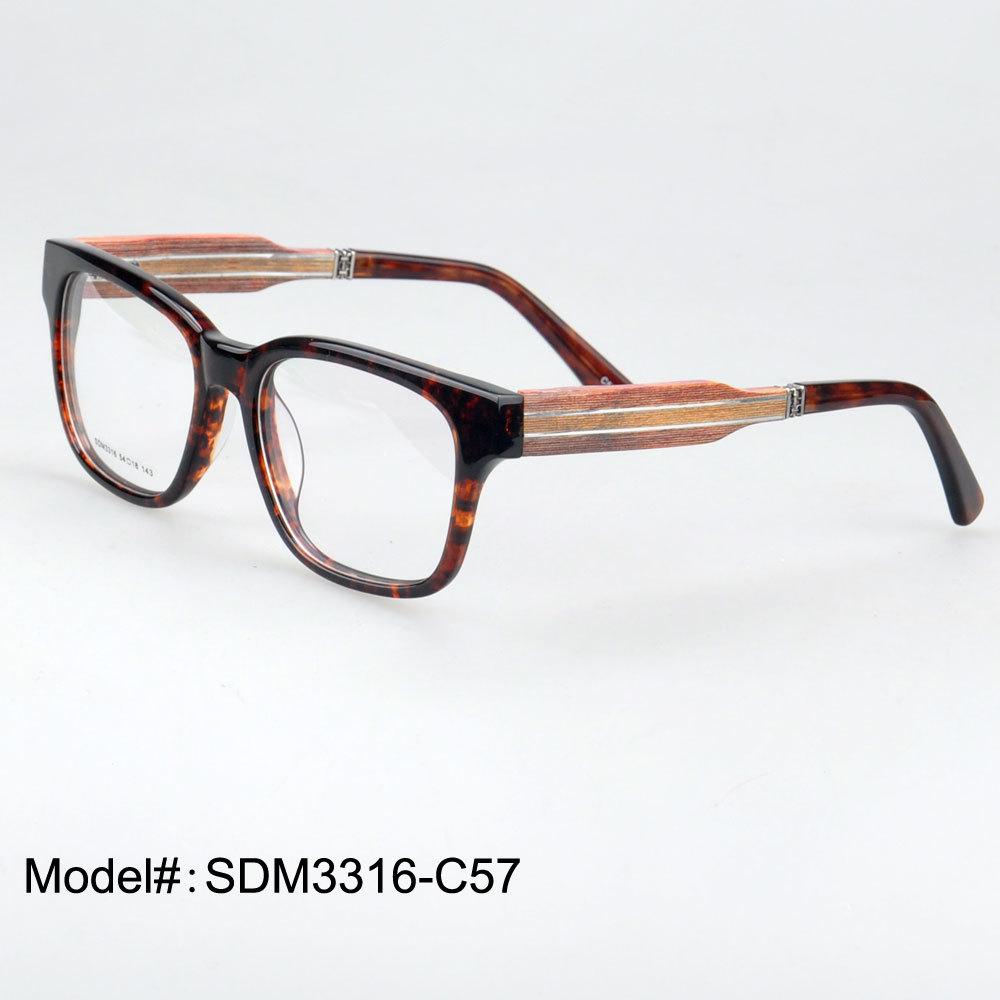 SDM3316 Full Rim Quality Retro Acetate Frame And Wooden
