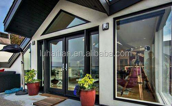 Pvc dubbele glas exterieur swing patio deuren smeedijzeren tuin