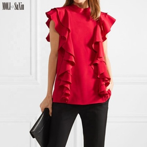 MOLI Top Fashion Women Red Chiffon Sleeveless Double Ruffles Blouse Scarf Neck Back Bow Tie Shirt