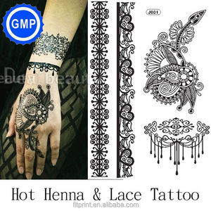 J001-J045B wholesale black lace tattoos temporary water based super style rock style tattoo designs kids black tattoo sticker