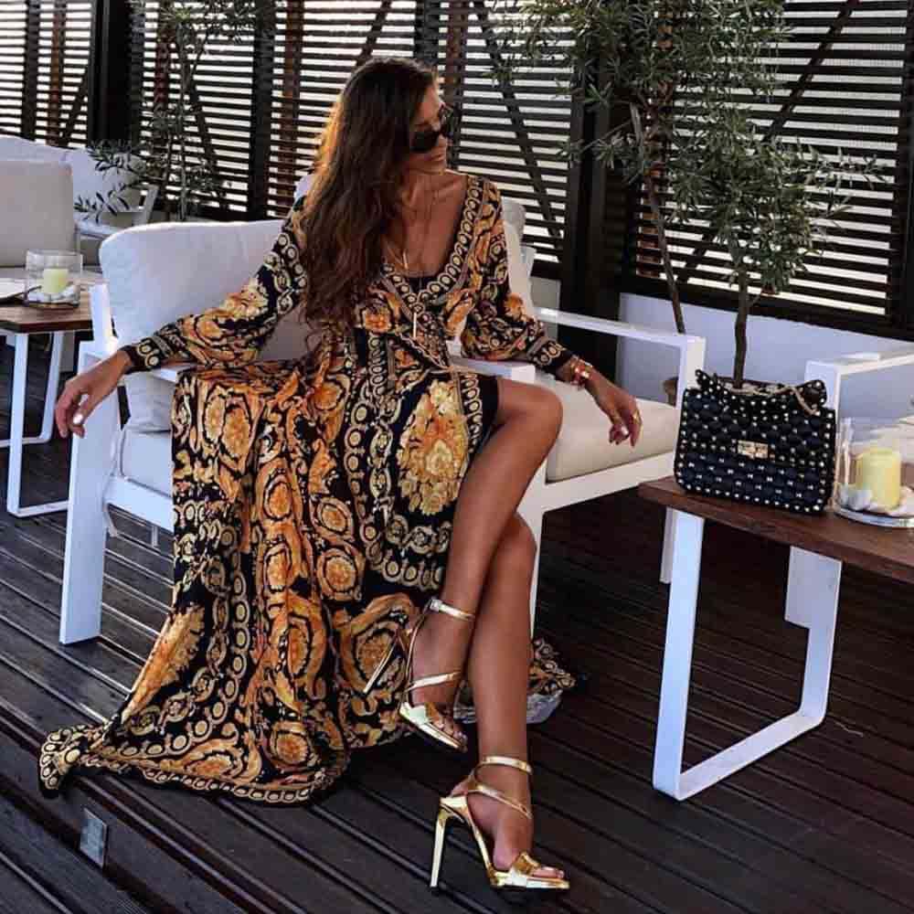 MIGO 2019 summer new style fringe elegant long casual <strong>dress</strong> for women beach wear maxi scarf A2777