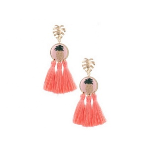 2019 Summer Threaded Pineapple Metal Philodendron Cotton Tassel Drop Earring