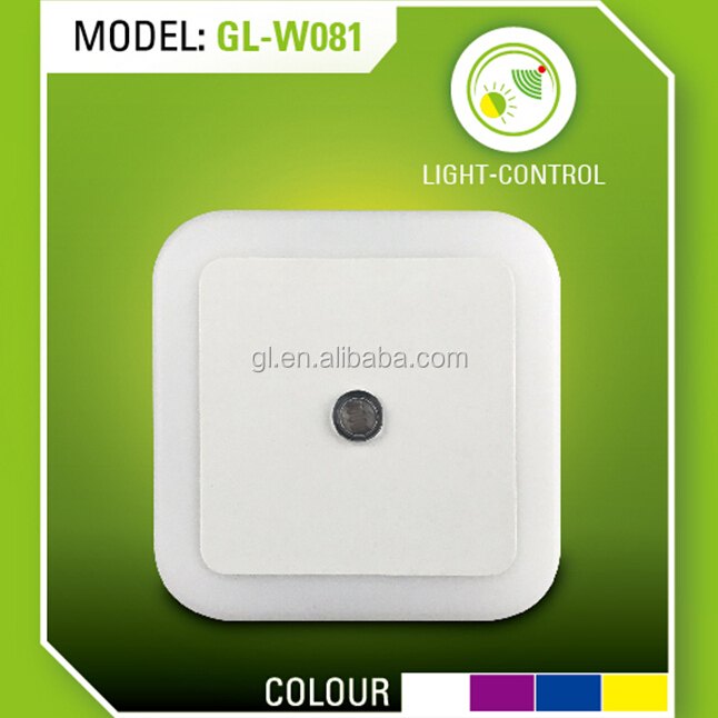 OEM Lamp with Auto Dusk to Dawn Sensor for Baby Bedroom W081 US EU plug in square shape LED sensor Night Light