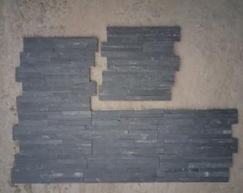 Classic Black Slate Random Strips Joint Mosaic Kitchen Wall Tile Patterns