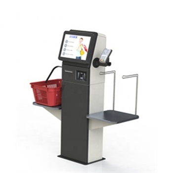 Touch screen payment Supermarket self check out kiosk with card reader