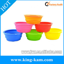 non-stick silicone folding pet bowl/novelty pet silicon folding bowls/silicon dog foldable bowls