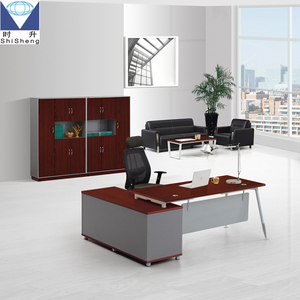 Customized dark cherry panel office desk executive desk with metal frame