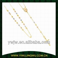 14K Tri-color Gold 3mm Beads Our Lady Guadalupe Rosary Necklace with White Gold Crucifix