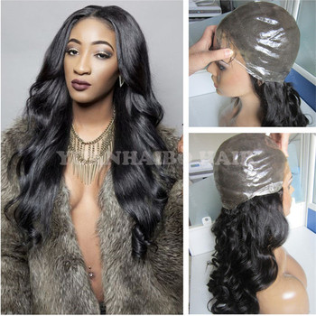 Hot Selling #1b loose wavy 100 virgin peruvian hair full thin skin wig with natural hairline