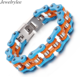 New Product Colorful Men's 316L Stainless Steel Jewelry Bike Motorcycle Chain Bracelet
