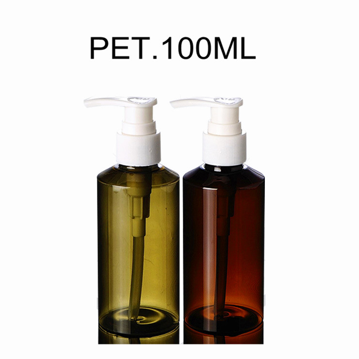 100ml Amber Tea-Green PET Decorative Plastic Shampoo Bottles with White PP Lotion Pump