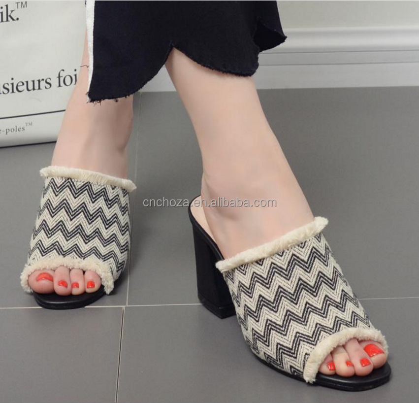 Z80290E european style women beachwear mules shoes high heel slippers