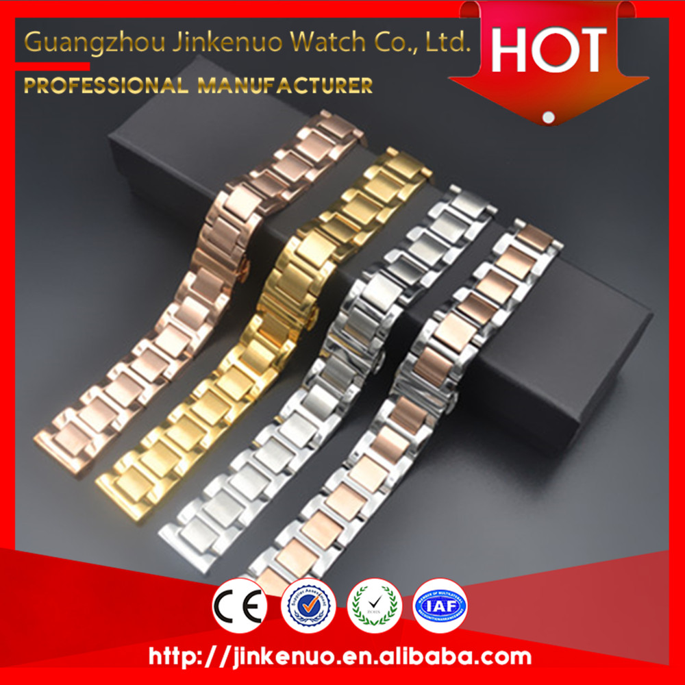 Quality guaranteed luxurious 15mm watch straps butterfly buckle design steel watchband