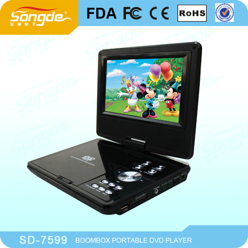 Ultra-thin games portable dvd 7inch with hd output and multifuctions