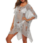 factory hot sale sexy knit mesh iregulare bikini beachwear see-through cover ups