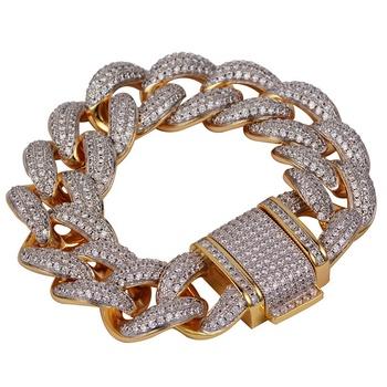 18k Gold 24mm Iced Out Diamond Cuban Link Bracelet Buy