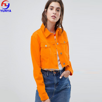 Mujeres Moda Cool Color Naranja Crop Chaqueta Denim Buy Chaqueta De Denim,Chaqueta De Mujer,Chaqueta De Cultivo Product on