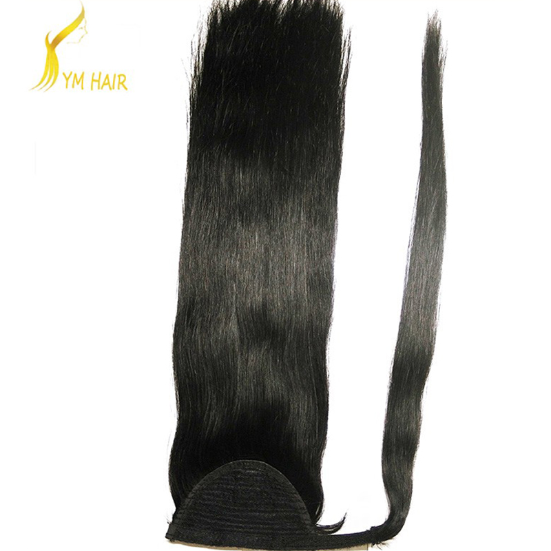 alibaba express china 10a grade 1# black virgin brazilian remy human hair ponytail hair extension with clips