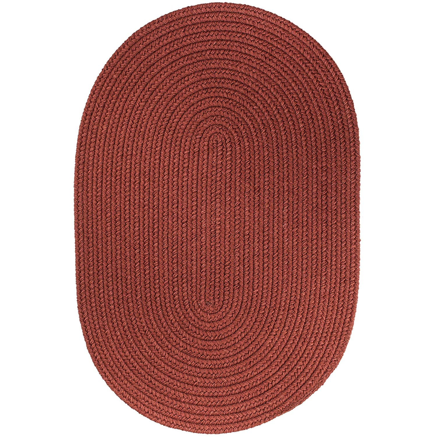 Super Area Rugs Maui Braided Rug Indoor Outdoor Rug Washable Reversible Red Patio Porch Kitchen Carpet, 10' X 13' Oval