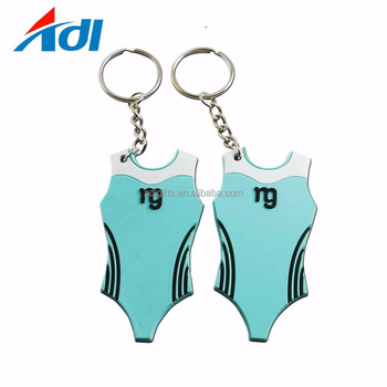 custom design soft rubber pvc sports swimsuit keychains with key ring