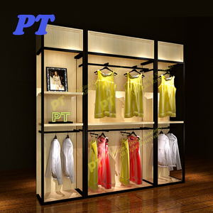 Retail cloth hanger wall rack for women clothing shop furniture garment display