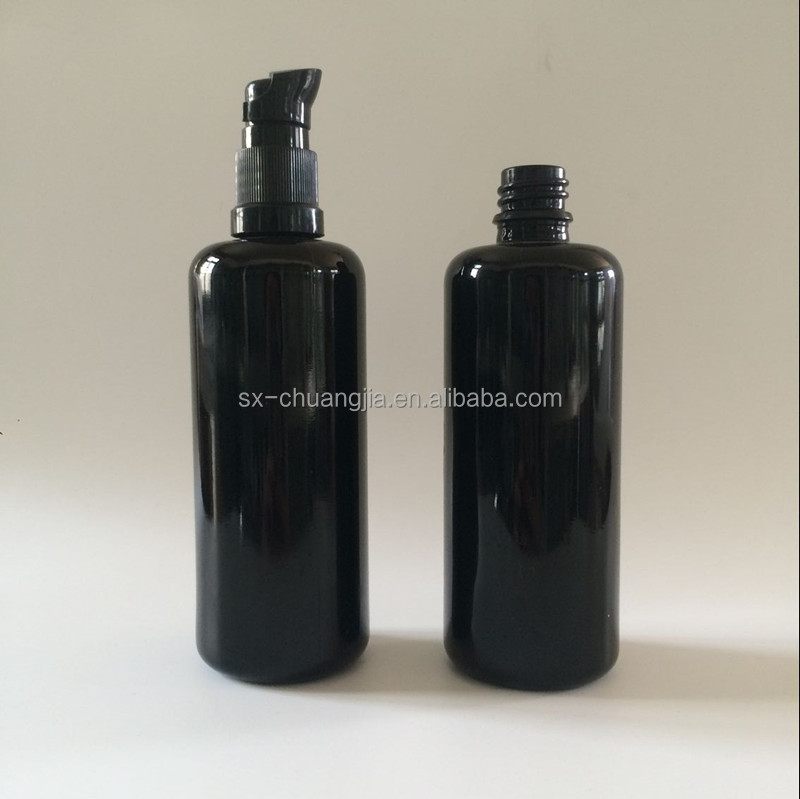 2017 New product cosmetic 100ml black round essential oil serum pump glass bottle hot sale dark voilet lotion glass bottle