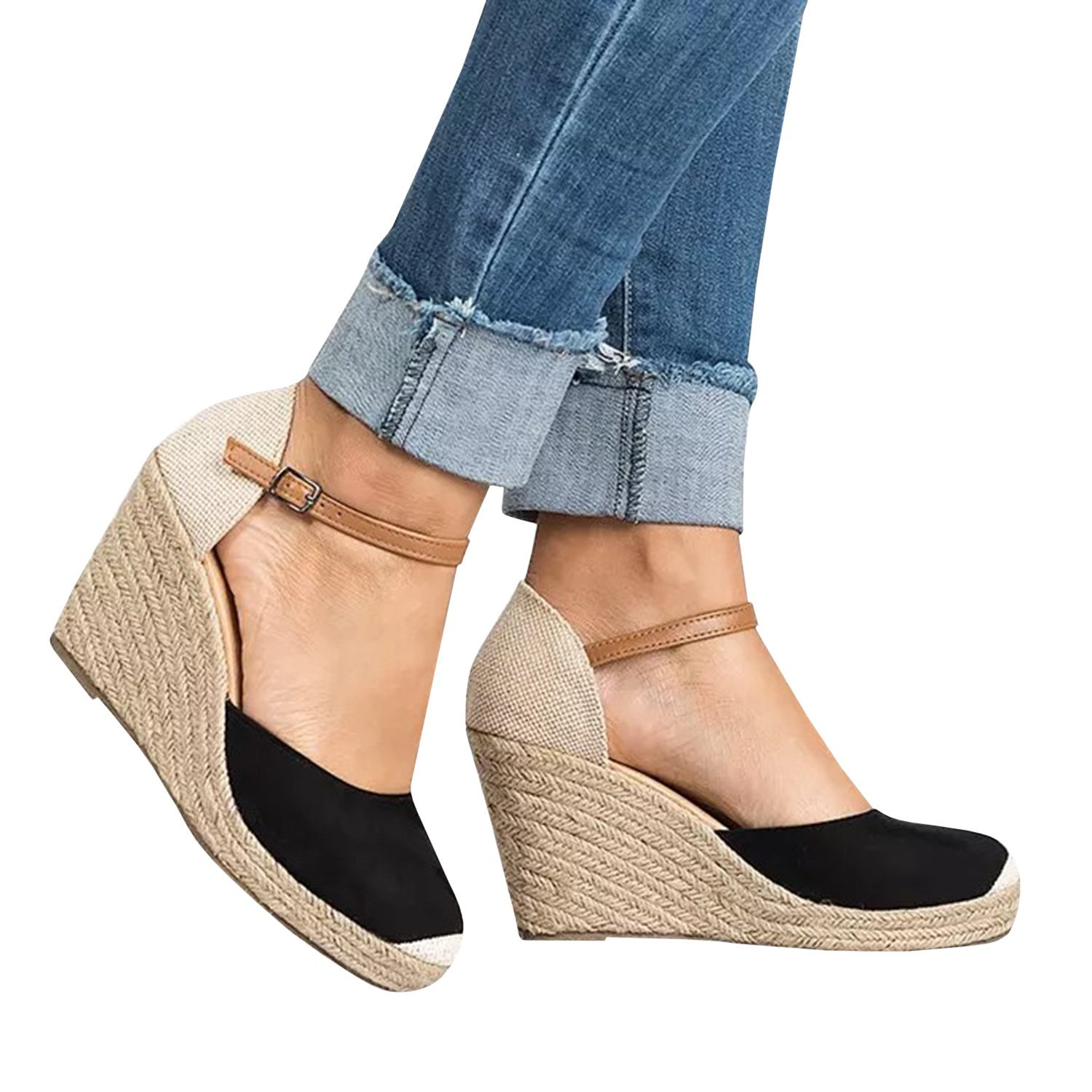f220c1f4cf92 Fashare Womens Closed Toe Espadrilles Platform Heel Wedge Shoes Ankle Strap  Sandals