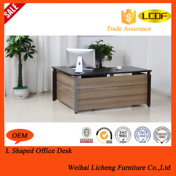 Modern Design Melamine Board Office Desk/L Shaped Office Table Wooden Legs