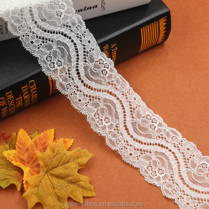 Wholesale export knitting net mesh lace trim white fabric and textile trimming