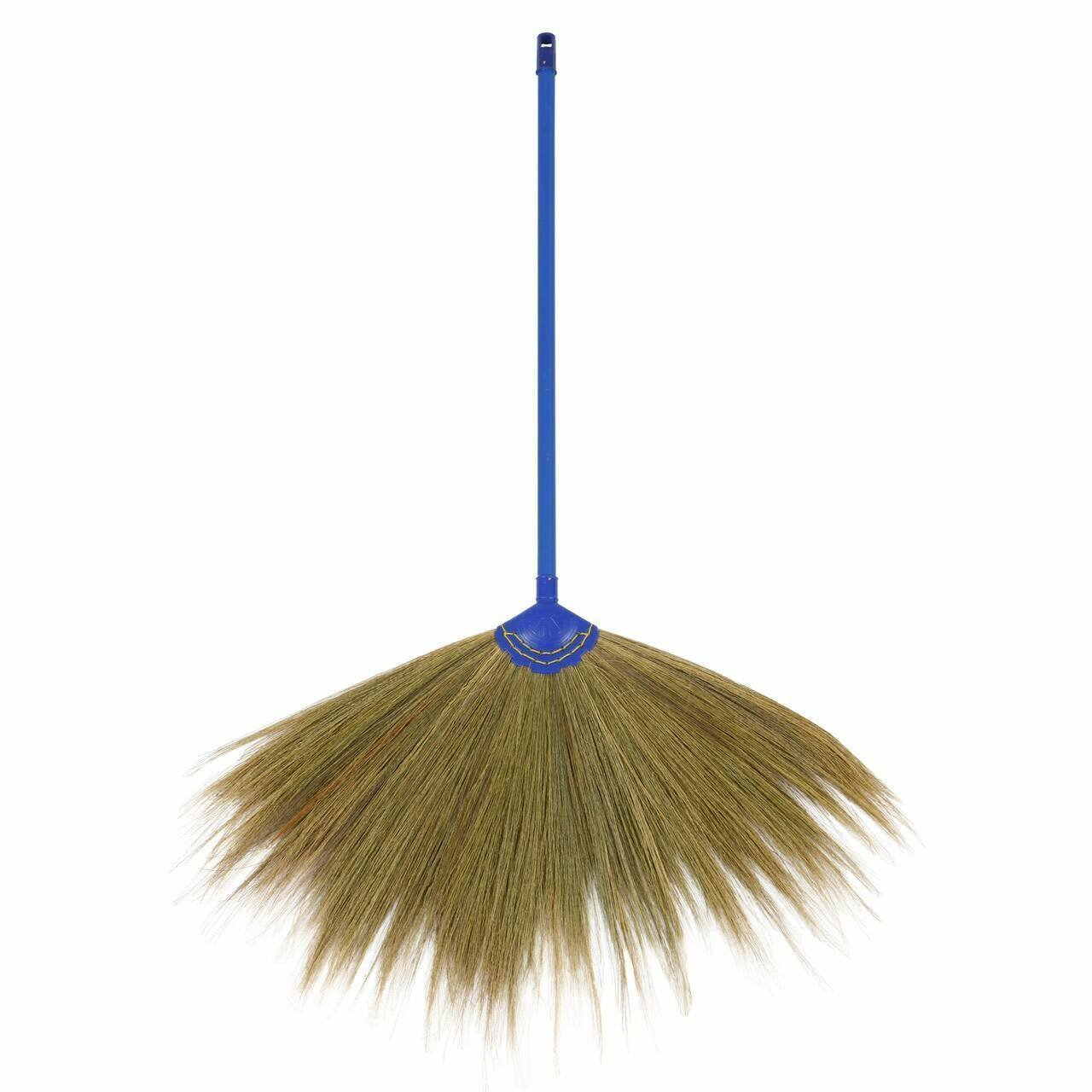"""Trendylife Broom, Grass Thai Tradition Handmade Color Plastic Handle, Sweep dust ,Straw Soft Broom Decor Gift Halloween soft and strong size 43"""" 1pc"""