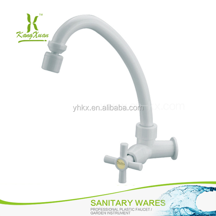 Pure white wall mounted plastic Swan neck faucet tap
