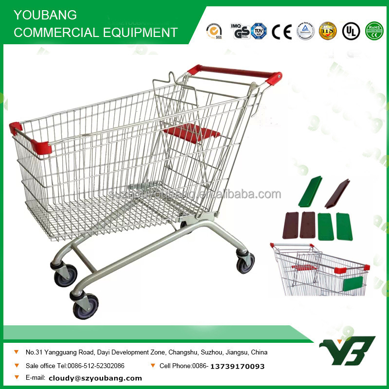 shopping trolley with front advertising board