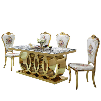 Luxury Marble Dining Table With Gold Stainless Steel Legs Top Pedestal