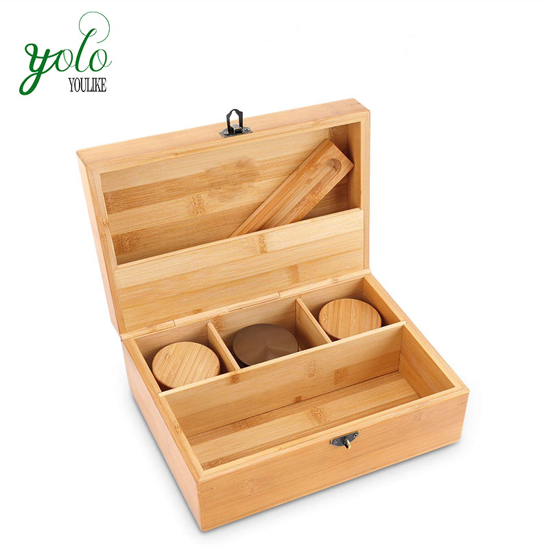 Wholesale Handmade 100% Bamboo Removable Dividers Large Stash Box