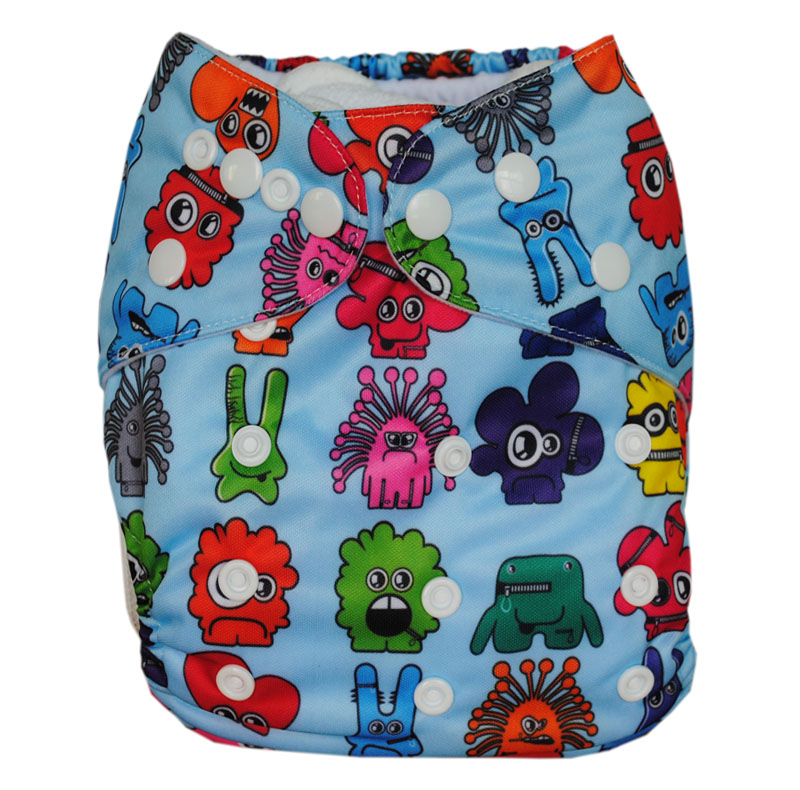 LilBit Free Shipping NEW Reusable Double Row Snaps Printed Wholesale Cloth Diaper Nappy with a insert