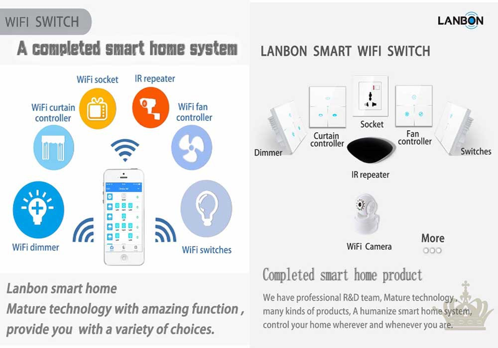 lanbon smart home wifi 3 gang switch smart home system
