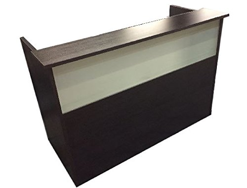 """DFS Reception desk shell which fits a 15"""" monitor - 60"""" W by 30"""" D by 44"""" H Espresso W/ frosted glass front by DFS Designs"""