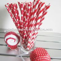 Wholesale red stripe and polka dots biodegradable paper drinking straw