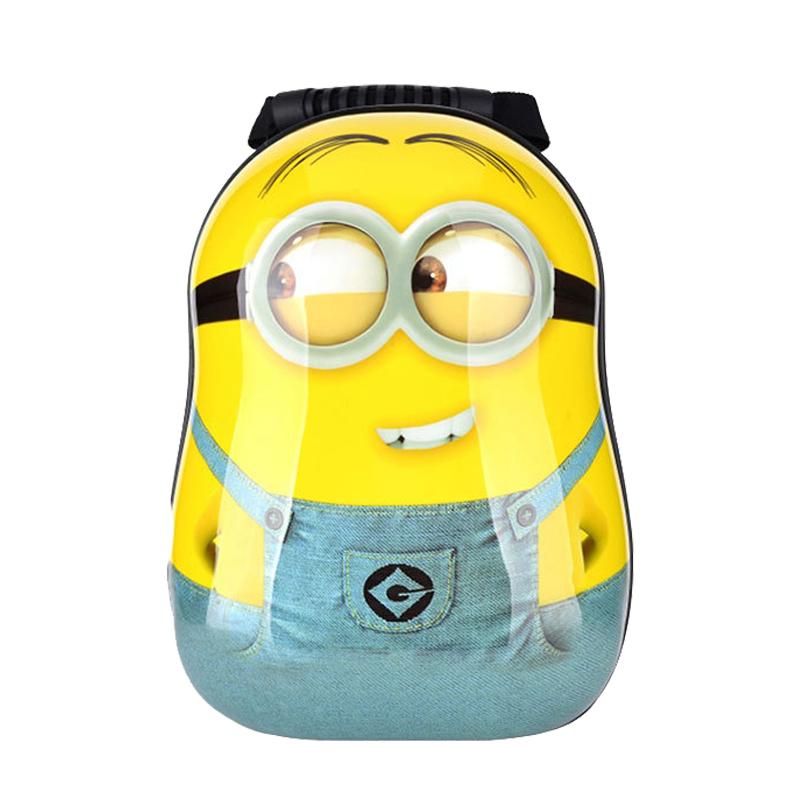 0bfe1bc952 2015 Children s cartoon cute little yellow people Trolley ABS backpack  shoulders kids backpack wheels kids trolley school bag