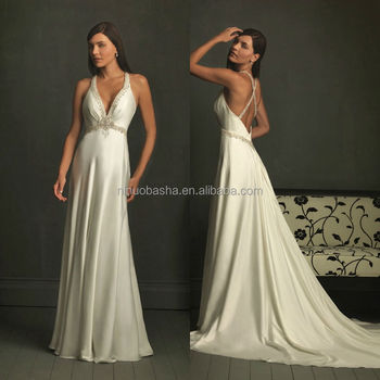 Charming 2014 Beaded Plunging Neckline Criss Cross Open Back Empire ...