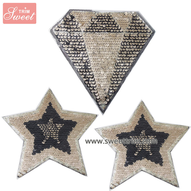 diamond star design gold sequin iron on applique wholesale from factory