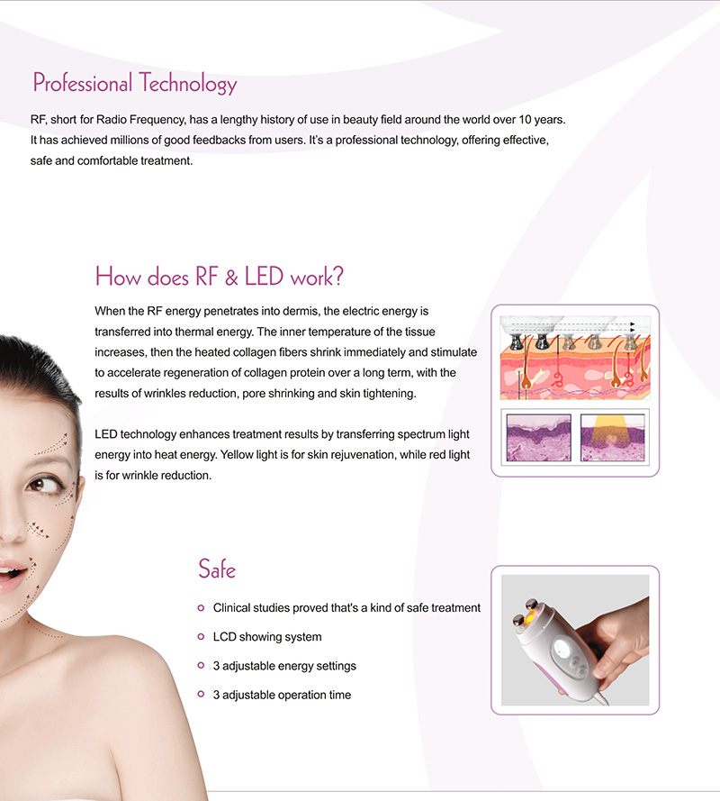 Same effect as salon RF equipment skin lifting deess rf anti aging wrinkle reduction
