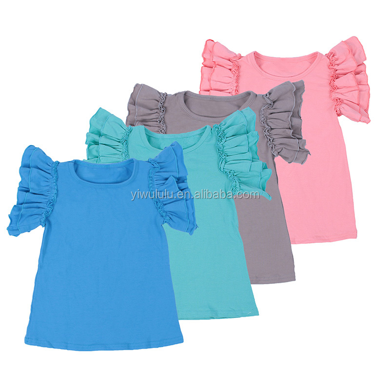 Pictures Of girls Cotton Tops Soild Color Flutter Sleeve Latest Tops Designs Girls фото