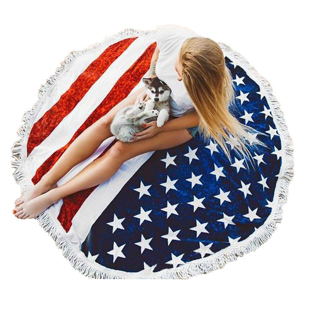 QIMOUSE Ultra Plush Circle Tapestry, Thick Round American Flag Beach Towel