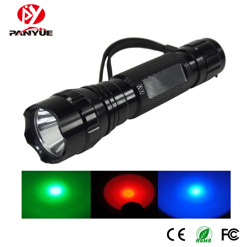 Aluminum red blue green light factory price 130 lumens zoomable UV flashlight