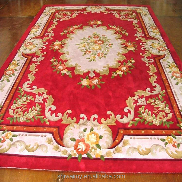 Chinese Style Red Hand Carved Wool
