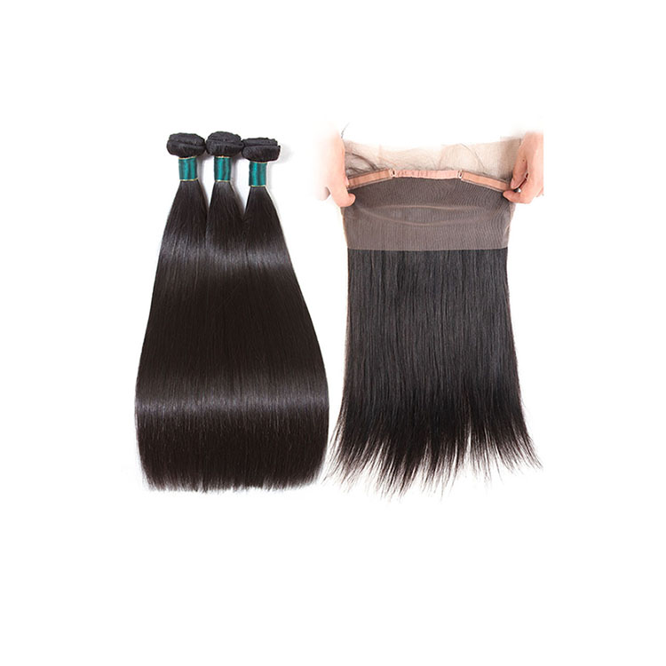10A Grade Straight Human Hair 3 Bundles with 360 Lace Frontal Closure Unprocessed Virgin Brazilian Cuticle Aligned Hair фото