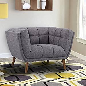 Armen Living LCPH1DG Phantom Chair in Dark Grey Linen and Walnut Wood Finish